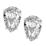 1.0 ct. Platinum Plated Sterling Silver Pear Studs