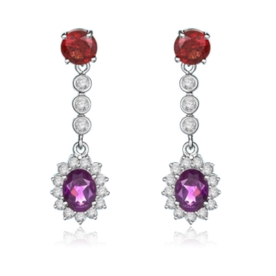 Diamond Essence Designer Earrings with Oval cut Amethyst, Round cut Garnet Stones and Brilliant Melee, 6.0 cts.t.w. - SED7011