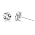 Traditional studs with a twist on the bezel set that shows small accents sideways too! Confess it...you always wanted this! 2.20 Cts. T.W. in Platinum Plated Sterling Silver.