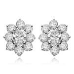 Flower Cluster - Each Earring with 1.0 Cts. Oval Center surrounded by Round Diamond Essence, 4.0 Cts. T.W. set in Platinum Plated Sterling Silver.