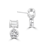 Unique Bezel set drop earring with 2 Cts. T.W. Round Diamond Essence, in 14k Platinum Plated Sterling Silver. (Image in Yellow but product in Platinum Plated Sterling Silver).