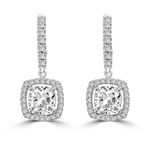 Diamond Essence Leverback Earrings with 1.0 ct. Cushion cut Round Brilliant Melee, 2.50 cts.t.w. in Platinum Plated Sterling Silver.