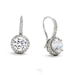 Diamond Essence Drop Earrings With Wire, 2 Cts. Each Round Brilliant Stone With Melee Around And On Bail, 5 Cts.T.W. In Platinum Plated Sterling Silver.