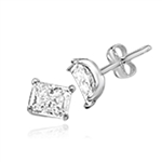 Radiant Emerald cut Diamond Essence studs cradled in Platinum Plated Sterling Silver, 3.0 cts. t.w.