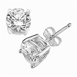 1ct ear studs in platinum plated sterling silver