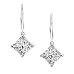 Diamond Essence Lever Back Earrings with Princess Cut 8MM Masterpiece. The specially set Sterling Silver Earrings make for an Impressive 4 Cts. T.W.