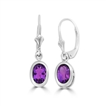 Sterling Silver leverback earrings in oval-cut Amethyst
