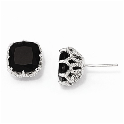 Diamond Essence Designer Basket Setting Studs With Cushion Cut Onyx Essence Set In 8 Prongs In Platinum Plated Sterling Silver.