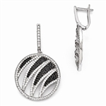 Designer Earrings with Ember Essence and Diamond Essence Melee, 5.0 Cts. T.W. set in Platinum Plated Sterling Silver.