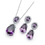 Diamond Essence Amethyst Earring Pendant Designer Set
