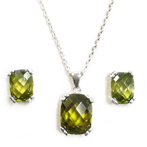 Diamond Essence Earring And Pendant Set With French Cut Dark Peridot Essence Stones In Platinum Plated Sterling Silver.