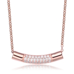 Diamond Essence Curve line Necklace With Pave Setting Round Brilliant Stones In Rose Plated Sterling Silver.