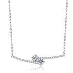 Diamond Essence U & ME Necklace, with two Round Brilliant stone set in four prongs in close connection, supported by melee on the sides. 2.25 Cts.T.W. in Platinum Plated Sterling Silver. Perfect  for any occasion.