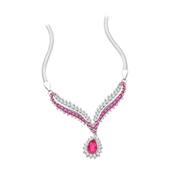 4.5 ct. Ruby Essence stones necklace in Platinum Plated Sterling Silver