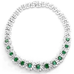 Diamond Essence Designer Necklace with Radiant Emerald cut Emerald, Pear, Marquise and Round Brilliant Stones, 82.0 cts.t.w. - SND4002