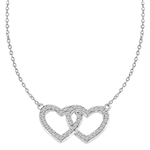 "Heart In Heart with 16"" long attached chain, 0.50 ct. t.w. of Diamond Essence Round Brilliant Stones in Platinum Plated Sterling Silver."