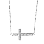 "East-West Cross Necklace with 16"" long attached chain and 0.25 ct.t.w. Diamond Essence Melee, in Platinum Plated Sterling Silver."