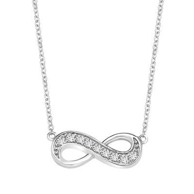 "Infinity Necklace with 0.45 ct.t.w. Round Brilliant Diamond Essence stones on 16"" long, Platinum Plated Sterling Silver chain."