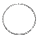 "16"" long Designer Necklace with two rows of Round Diamond Essence, set delicately in four prong setting, 38.0 Cts. T.W. set in Platinum Plated Sterling Silver."
