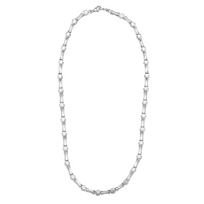 Bambooty - Exquisite Bamboo Necklace with Round Diamond Essence Masterpieces in a unique prong and link setting forming 9.25 cts. T.W. set in Platinum Plated Sterling Silver.