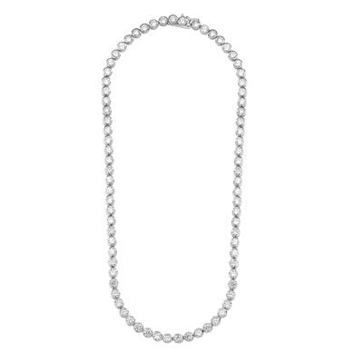 Tourney - Wonderful Tennis Necklace, 17 Cts. T.W. with Bezel Set Round Cut Masterpieces forming a complete - and completely enchanting - circle. set in Platinum Plated Sterling Silver.