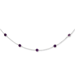 "Platinum Plated Sterling Silver necklace with 0.25 ct. each, round  Amethyst Essence stone in delicate setting. 9 stones set at 1 inch gap on 18"" long chain. 2.25 cts.t.w."