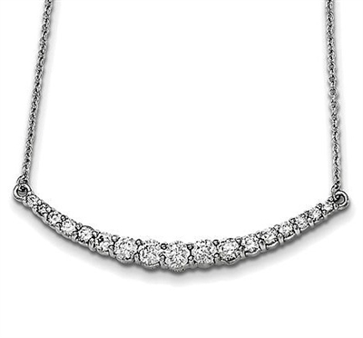 "Diamond Essence 16"" Necklace with Graduating Round Brilliant Stones,1.70 Cts.T.W. set in Platinum Plated Sterling Silver."