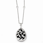 Diamond Essence Leaf Vine Designer Necklace With Pear Cut Onyx Essence Center Surrounded By Round Brilliant Melee in Platinum Plated Sterling Silver, 12 Cts.T.W.