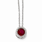 Platinum Plated Sterling Silver Diamond Essence Necklace With Round Brilliant Ruby Essence Center Escorted By Brilliant Melee.