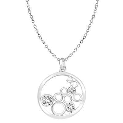 floating stones sterling silver pendant