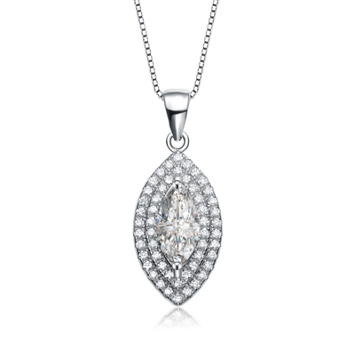 Diamond Essence Pendant With Marquise Essence Center Escorted By Two Rows Of Round Brilliant Melee, 1.60 Cts.T.W. In Platinum Plated Sterling Silver.