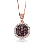 Diamond Essence Rose Plated Pendant with Diamond And Chocolate stones, 1.70 Cts.T.W.-SPC2409