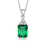 Diamond Essence Pendant With Emerald Cut Emerald Essence Stone And Round Brilliant Melee, 1.75 Cts.T.W. In Platinum Plated Sterling Silver.