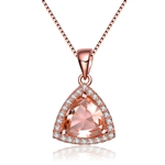 Diamond Essence Pendant With Trilliant Stone Surrounded By Melee In Rose Plated Sterling Silver.