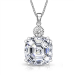 Diamond Essence Pendant With Asscher cut Stone in Platinum Plated Sterling Silver.