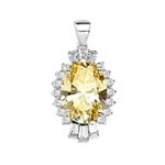 Diamond Essence Pendant in Platinum Plated Sterling Silver with 10 cts. Oval Canary in center. Round Essence and Baguettes on either side, set in prong settings, makes it a designer wear. 13.0 cts.T.W.