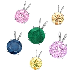A brilliant-cut Diamond Essence pendant. 1.0 cts. t.w. stone in Platinum Plated Sterling Silver. Specify your choice of Diamond Essence Canary, Emerald, Pink, Lavender, Champagne, Sapphire, or Ruby.