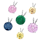 2ct different color stone pendants Silver