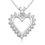 0.5 cts Diamond Essence Heart Pendants in silver