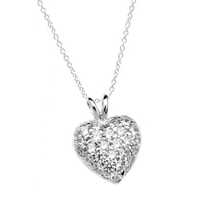 Heart Pendant with 1.30 Cts.T.W.  Pave - Set Round Brilliant Melee, to guide him directly to you. 1/2 inch long in Platinum Plated Sterling Silver.
