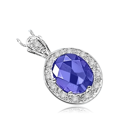 oval sapphire encircled by gems in silver pendant