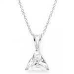 Diamond Essence  Pendant with 3.0 ct Triangle stone in Platinum Plated Sterling Silver.