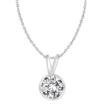 Platinum Plated Silver Pendants - 1ct round brilliant stone