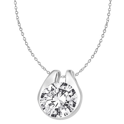 Diamond Essence 2.0 Cts. Round Brilliant Stone set in shell-like bezel setting of Platinum Plated Sterling Silver, makes a delicate Slide Pendant.