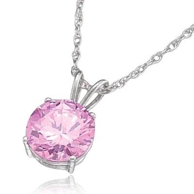 "Diamond Essence lovely Pink Stone of 2.0 ct. set in Platinum Plated Sterling Silver four-prongs setting on 16"" chain. (Also available in 14K Solid White Gold, Item# WPD1732).