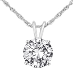1ct round stone platinum plated sterling silver pendant