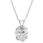 Oval-cut Diamond pendant in  14K White Gold