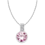 Platinum Plated Sterling Siver Pendant, 2.06 cts. In all with a 2.0 cts. Round cut pink Diamond Essence bezel set center.