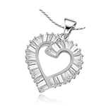 Light-catching baguettes pave our tender open-heart pendant. 3.0 cts. t.w. in Platinum Plated Sterling Silver.