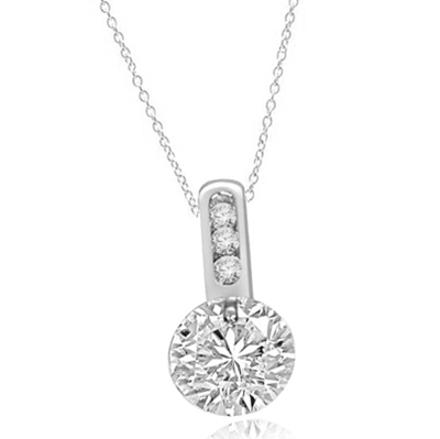 Magnificent pendant with 2.0 cts. tension set in Platinum Plated Sterling Silver